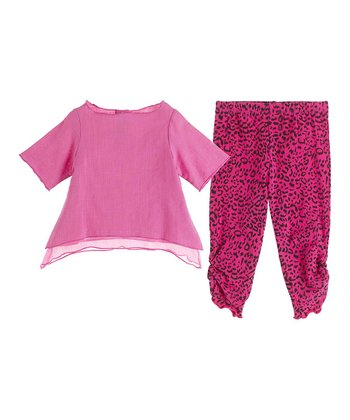 GANZ Pink Sidetail Tunic & Leopard Leggings