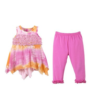 GANZ Pink & Orange Handkerchief Tunic & Leggings