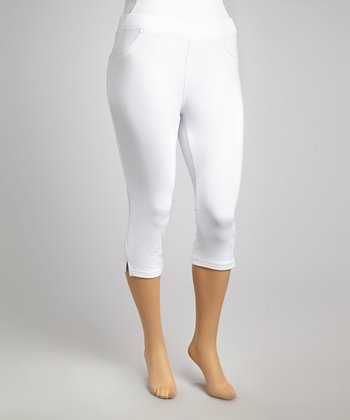 White Classic Cropped Leggings - Plus