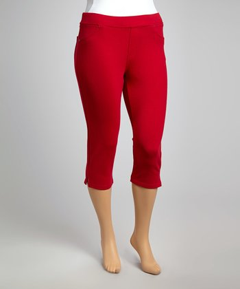 Red Classic Cropped Leggings - Plus