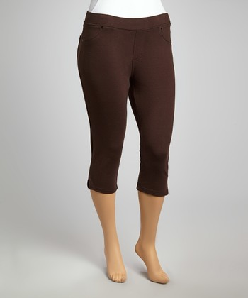 Brown Classic Cropped Leggings - Plus