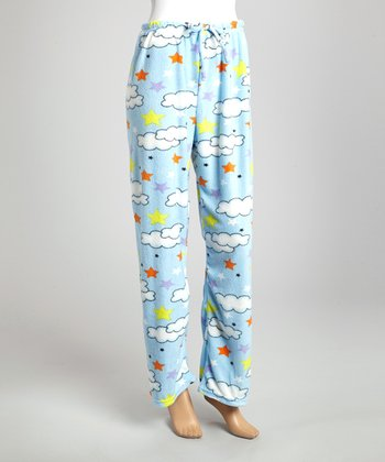 Light Blue & Yellow Starry Night Pajama Pants