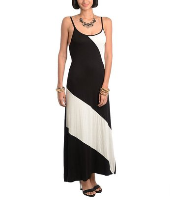 Black & Ivory Asymmetrical Color Block Maxi Dress