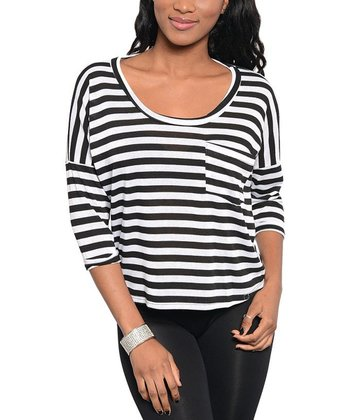 Black & White Stripe Pocket Scoop Neck Top