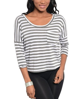 Gray & White Stripe Pocket Scoop Neck Top