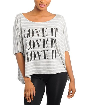 Gray & Ivory Stripe 'Love It' Sidetail Top