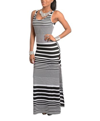 Black & White Stripe Sleeveless Maxi Dress