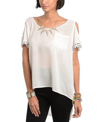 White Studded Cutout Top