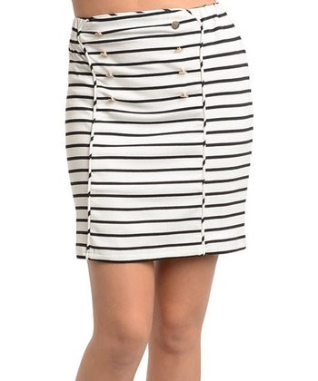Ivory & Black Stripe Pencil Skirt
