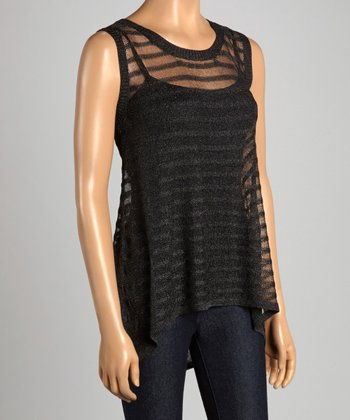Black Sheer Ribbed Hi-Low Tank