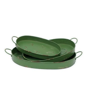 Green Distressed Serving Tray Set