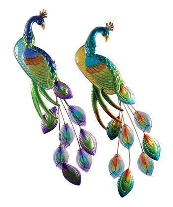 Metallic Peacock Wall Art Set