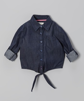 Dark Blue Denim Tie-Front Top - Toddler & Girls