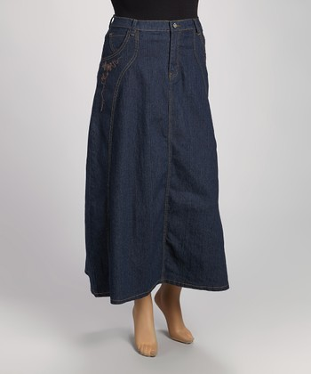 Dark Indigo Denim Maxi Skirt - Plus