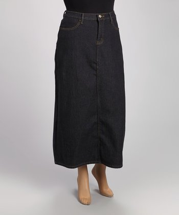 Blue Denim Maxi Skirt - Plus