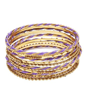Gold & Purple Syeira Bangle Set