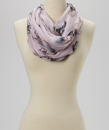 Light Pink Feather Infinity Scarf