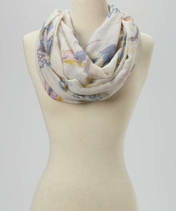 Yellow Feather Infinity Scarf