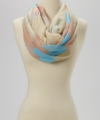 Ivory Color Splashed Infinity Scarf