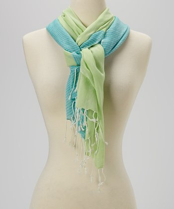 Joy Accessories Turquoise & Lime Stripe Scarf
