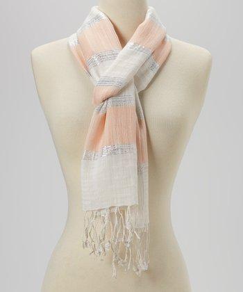 Joy Accessories Blush & White Bold Stripe Scarf