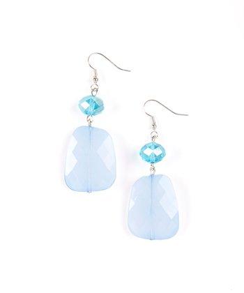 Silver & Blue Large Double Drop Earrings
