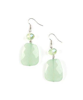 Silver & Green Large Double Drop Earrings