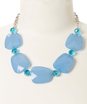 Silver & Blue Faceted Lucite Necklace