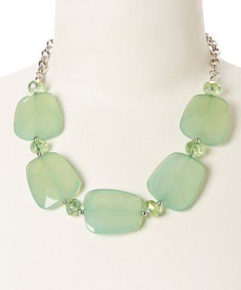 Silver & Green Faceted Lucite Necklace