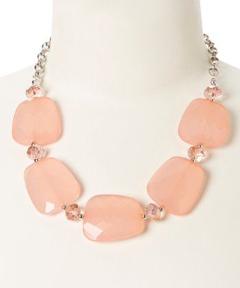 Silver & Pink Faceted Lucite Necklace