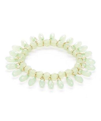 Green Lucite Teardrop Stretch Bracelet