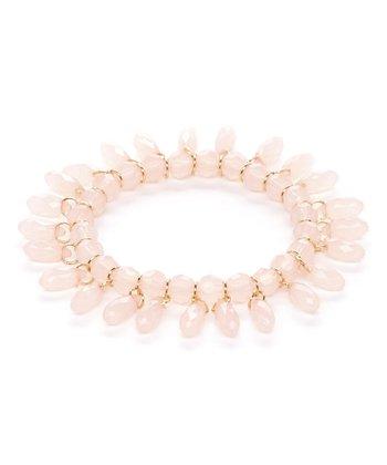 Pink Lucite Teardrop Stretch Bracelet
