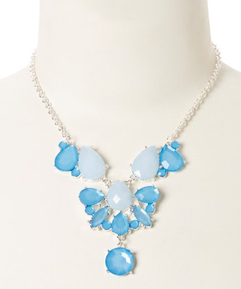 Silver & Blue Lucite Teardrop Bib Necklace