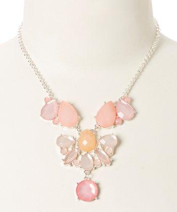 Silver & Pink Lucite Teardrop Bib Necklace