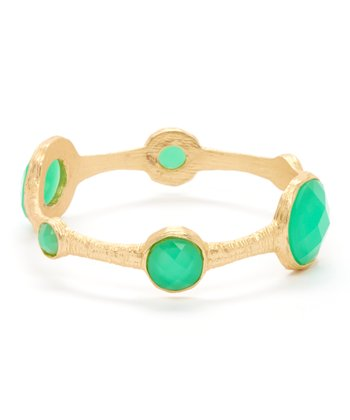 Green & Gold Faceted Station Bangle