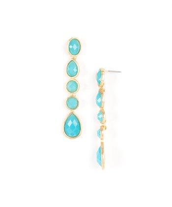 Blue & Gold Teardrop Earrings