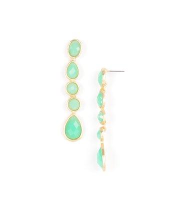 Green & Gold Teardrop Earrings