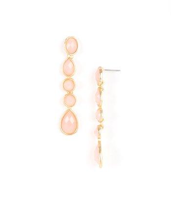 Pink & Gold Teardrop Earrings