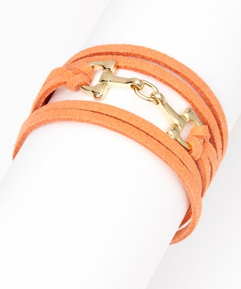ZAD Coral & Gold Horsebit Suede Bracelet