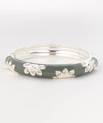 ZAD Silver & Gray Floral Hinge Bangle
