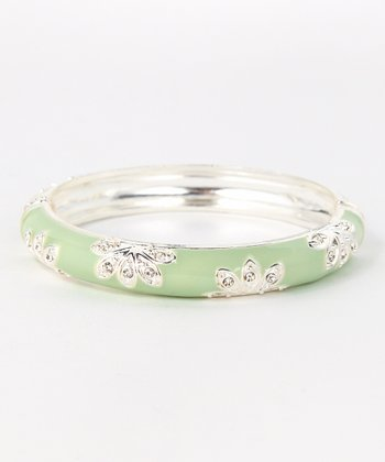 ZAD Silver & Mint Floral Hinge Bangle