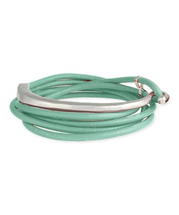 ZAD Mint & Silver Leather Wrap Bracelet
