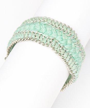 ZAD Mint & Silver Chain-Braided Bracelet