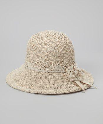 Biacci Beige Flower Crocheted Sunhat