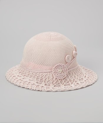 Biacci Powder Pink Swirl Crocheted Sunhat