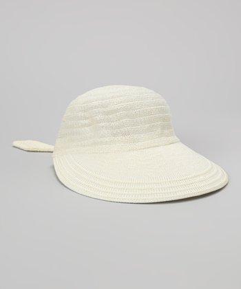 Biacci Ivory Crocheted Jockey Cap