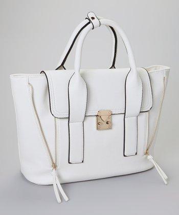 Yoki White & Gold Buckle Handbag