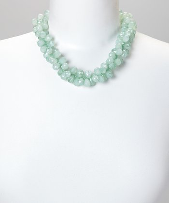Red Water Designs Light Green Cluster Beaded Necklace