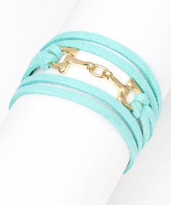 ZAD Mint & Gold Horsebit Suede Bracelet