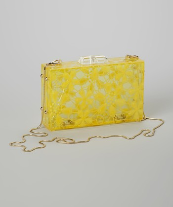 Pink Cosmo Yellow Floral Lace Box Clutch